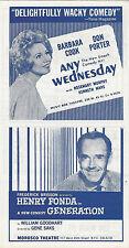 "Barbara Cook ""ANY WEDNESDAY"" Henry Fonda ""GENERATION"" 1965 Train Timetable"