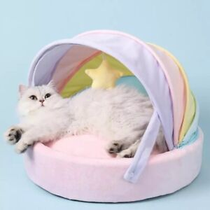 CAT AND DOG BED PASTEL RAINBOW KAWAII PINK PLUSH PILLOW WITH STARS