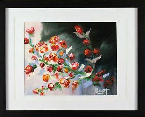 Bunch of Budding Roses Art Print Hand Embellished Signed Robert COA - Framed