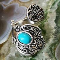 Vintage Women Boho Indian Turquoise Open Ring Adjustable Jewelry Size 6-10