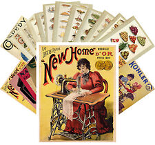 Postcards Pack [24 cards] Sewing Machine and Cooking Book Vintage Ads CC1088