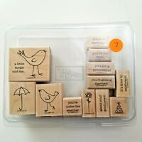 Stampin UP A Little Birdie Told Me Stamp Set EUC 12 Stamps