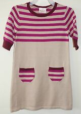 Brand New Hanna Andersson Plum Russet Bisque Stripe Sweater Dress ~120, 6-8 Year