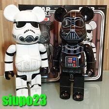 Medicom 400% Bearbrick ~ Star Wars Darth Vader & Stormtrooper Chrome Ver 2p