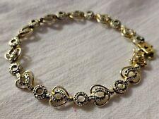 Vintage Sterling Silver signed DL 925 Heart Link Bracelet 2 Tone Textured Links