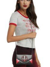 "Marvel Deadpool Envelope Fold Crossbody Bag Purse Clutch Handbag 48"" Chain NWT!"