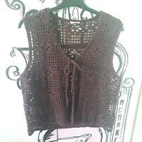 Womens Size 10-12 Dark Brown Crochet Sleeveless Top Tie Fasten Jacket Waistcoat