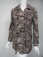 TORY BURCH Brown Black White Wavy Line Cotton Belted Short Trench Coat Jacket 4