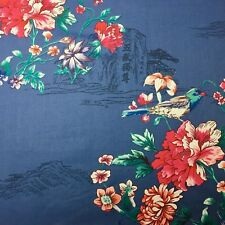Printed Oriental Inspired Florals//Birds on Crepe de Chine Fabric-1.7metres