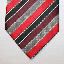 NEW Covington Silk Neck Tie with Black, Red, Burgundy, Gray & White Stripes 1502