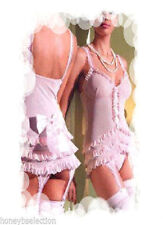Sexy Ladies Pink Suspender Ruffle Chemise Bustier Corset Size 10-14 M/L Lingerie