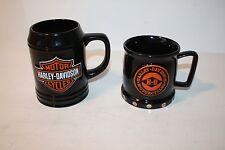 2 HARLEY DAVIDSON CUPS BAR & SHIED SCULPT TANKARD & DECORATIVE MUG EUC