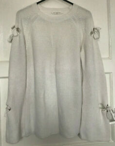 Candy Couture Matalan Girls Long Cut Out Sleeve White Crew Neck Jumper Age 16