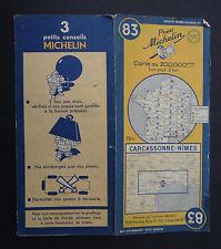 Carte MICHELIN old map n°83 CARCASSONNE NIMES 1951 guide Bibendum pneu tyre