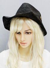 Cowboy Western Shapeable Straw Half Folded Hat Panama Cowgirl Concho Cap