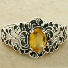 GENUINE CITRINE ANTIQUE FILIGREE STYLE 925 STERLING SILVER RING SIZE 5,     #854