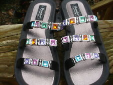 multi Jeweled Gem Stones Pool Sunshine Beach Bling Women's sz 7 Grandco Sandals