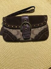 Coach Studded Brown Suede & Canvas Brown Signature C Wristlet
