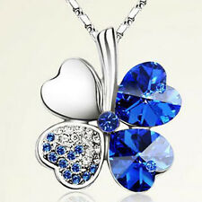 Silver Happiness Clover Leaf Crystal Pendant Chain Necklace Valentine's Day Gift