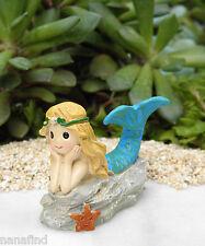 Miniature Dollhouse FAIRY GARDEN ~ Ocean UNDER THE SEA Blue Mermaid on Rock