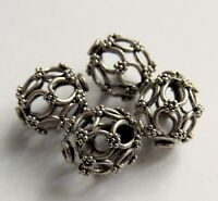 Large Oxidized Bali Sterling Silver Oval Filigree Focal Bead - 13x11 mm