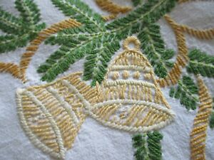 Vintage Hand Embroidered Linen CHRISTMAS Tablecloth With Lace edging