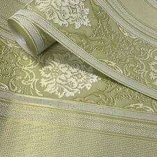 Damask Stripes Wallpaper roll olive green gold metallic victorian embossed 3D
