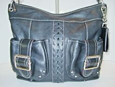 TIGNANELLO BLACK LEATHER CROSSBODY BAG - DOUBLE FRONT POCKETS BRAIDED DETAIL