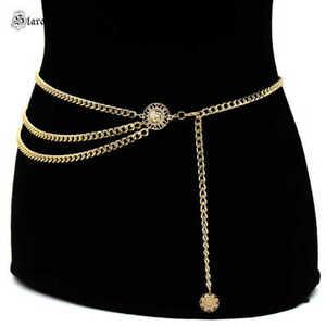 Gold Chain Belt Women High Waist Hip Coin Charms Waistband Body Retro