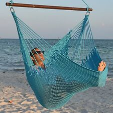Oversized Long Hammock Chair Ocean Blue Wood Bar Soft Polyester 300 lb Capacity