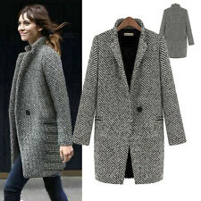 UK Womens Winter Autumn Casual Business Long Tweed Jacket Oversized Blazer Coat