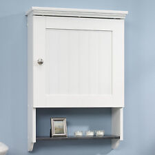 Bathroom Wall Cabinet White Over Toilet Slate Shelf Bead Board Country Paneling