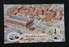 """c.1940 ANHEUSER-BUSCH """"HOME OF BUDWEISER"""" St. LOUIS MO. POSTCARD UNUSED"""