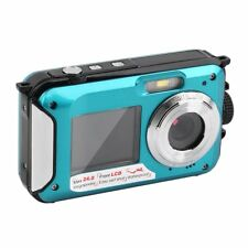 "Double Screen 24MP Waterproof Digital Video Camera 1080P DV Underwater 2.7"" BT"