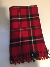 "Faribo Stadium Blanket Acrylic Red Black White Plaid 52"" X 39"""