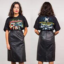 Mujeres Vintage años 80 alta cintura Falda Lápiz De Cuero Negro Longitud Midi Casual 10
