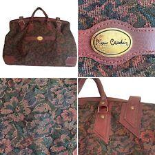Vintage Pierre Cardin Burgundy Floral Tapestry Gladstone Overnight Bag Holdall