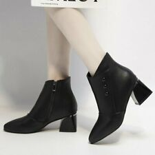 Women Ankle Boots Side Zipper Round Toe Block Heels Fashion Faux Pu Casual Shoes