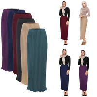 Women Muslim High Waist Bodycon Maxi Dress Soild Vintage Circle Pleated Skirts