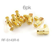 6-PACK Right Angle RP-SMA (Reverse Polarity) Female to SMA Male Gold Adapter