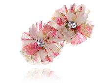 Women Pink Cream Chiffon Flower Crystal Rhinestone Head Piece Barrette Hair Clip