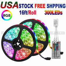 32.8FT 3528 RGB SMD 600 LED Waterproof Change Color 12V Light Strip 44Key Remote