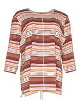 Denim & Co. Women's Top Sz L Striped Printed Jersey 3/4-Sleeve Pink A366977