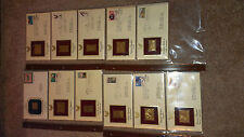 11  1st Day of Issue 22kt Gold Replicas U.S. Stamps + over 200 used world Stamps