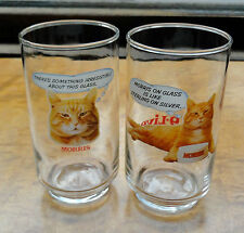 2 Vintage Humorous Morris The Cat 9 Lives Cat Food Tumblers Glasses Libbey Glass