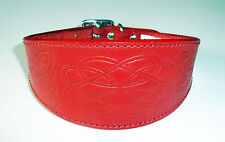 CELTIC Embossed Leather Whippet Greyhound Collar Saluki Deerhound Dog Collar