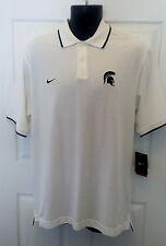 Mens Nike NCAA Michigan State Spartans Polo Golf Shirt Medium White