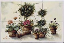 "Topiary Wall Tile Panel 6 Tiles 15cm 6"" Garden Flowers Pots Scene Decorated UK"