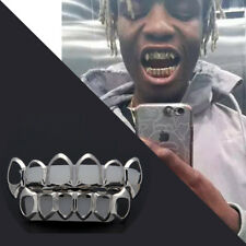14K Gold Plated Silver Hollowed-Out Hip Hop Teeth Grillz Top & Bottom Grill Set