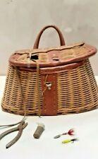 Vintage fly fishing wicker creel woven basket vintage fishing lures